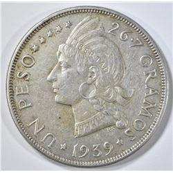 1939 DOMINICAN REPUBLIC PESO AU