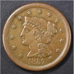 1857 LARGE CENT  AU/BU