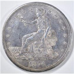 1874-CC TRADE DOLLAR   AU+