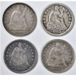 4 SEATED LIBERTY HALF DIMES VF
