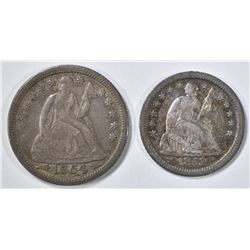 1854 SEATED LIBERTY DIME XF & 53-O HALF DIME XF