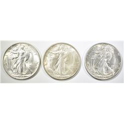 3-1945-S WALKING LIBERTY HALVES, CH BU BETTER DATE