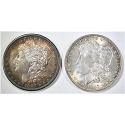 1881-S & 1887 CH BU MORGAN DOLLARS WITH COLOR