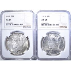 2-1923 PEACE DOLLARS, NGC MS-64