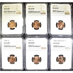 6-P MINT LINCOLN CENTS, NGC MS-66 RED