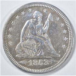 1853 ARROWS & RAYS SEATED LIBERTY QUARTER  AU