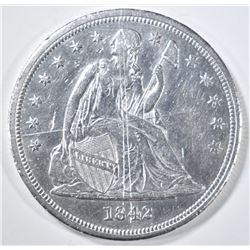1842 SEATED LIBERTY DOLLAR  BU  SCRATCHED