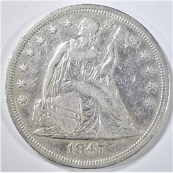 1847 SEATED LIBERTY DOLLAR  XF