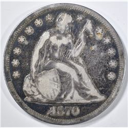 1870-CC SEATED LIBERTY DOLLAR  VG/F