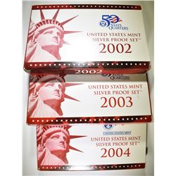2002, 03, 04 U.S. SILVER PROOF SETS IN ORIG