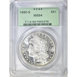 1880-S MORGAN DOLLAR, PCGS MS-64 OGH