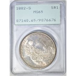 1882-S MORGAN DOLLAR, PCGS MS-65 RATTLER HOLDER