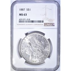 1887 MORGAN DOLLAR  NGC MS-63