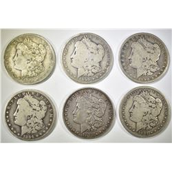 6-CIRC MORGAN SILVER DOLLARS: