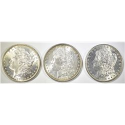 1884-O, 85-O & 87 MORGAN DOLLARS, CH BU FLASHY!