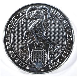 2019 QUEENS BEAST YALE OF BEAUFORT 2oz SILVER COIN
