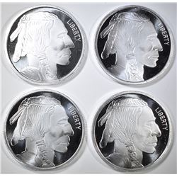 4-INDIAN/BUFFALO 1oz SILVER ROUNDS