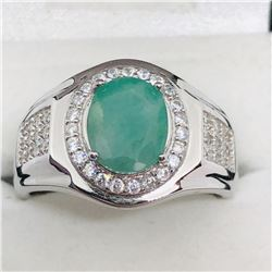 SILVER EMERALD CZ MEN'S RING SIZE 12