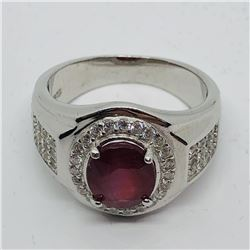 SILVER RUBY CZ MEN'S RING SIZE 10