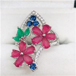SILVER FLOWER CZ RING SIZE 6