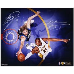 Kobe Bryant  Dirk Nowitzki Signed 16x20 LE Photo (Panini COA)