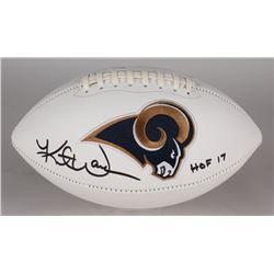 """Kurt Warner Signed Rams Logo Football Inscribed """"HOF 17"""" (JSA COA)"""