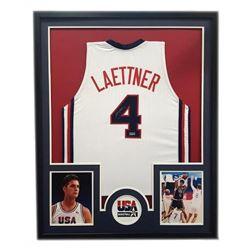 """Christian Laettner Signed Team USA 34"""" x 42"""" Custom Framed Jersey (Radtke COA)"""