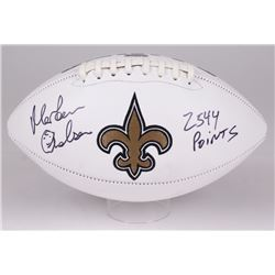 "Morten Anderson Signed Saints Logo Football Inscribed ""2544 Points"" (Radtke COA)"