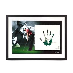 "Tiger Woods Signed 20x28 Custom Framed TEGATA Lithograph Display Inscribed ""08 U.S. Open Champ"" (UDA"