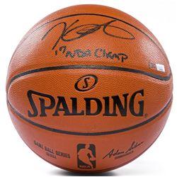 "Kevin Durant Signed Spalding Game Ball Series Basketball Inscribed ""17 NBA Champ"" (Panini COA)"