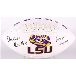 """Derrius Guice Signed LSU Tigers Logo Football Inscribed """"Geaux Tigers!"""" (JSA COA)"""