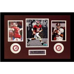 AJ McCarron Signed Braves 16x26 Custom Framed Photo Display (Radtke COA)