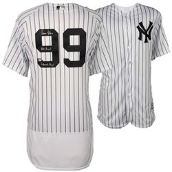"""Aaron Judge Signed LE Authentic Yankees Jersey Inscribed """"All Rise!""""  """"Judement Day! (Fanatics)"""