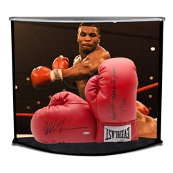 """Mike Tyson Signed 16x19x12 Boxing Gloves Curve Display Inscribed """"Baddest Man On The Planet""""  """"44 KO"""