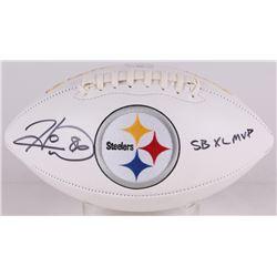 """Hines Ward Signed Steelers Logo Football Inscribed """"SB XL MVP"""" (Radtke COA)"""