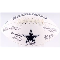 Cowboys Logo Football Signed by (6) Bob Lilly, Randy White, Ed Jones, Larry Cole, John Dutton  Georg