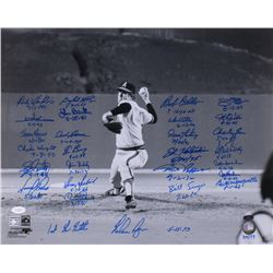 """Nolan Ryan's 1st No Hitter"" 16x20 Photo Signed by (27) With Nolan Ryan, Gaylord Perry, Bob Feller,"