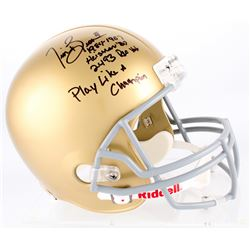 """Tim Brown Signed Notre Dame Full-Size Helmet Inscribed """"Heisman '87""""  """"Play Like a Champion Today!"""""""
