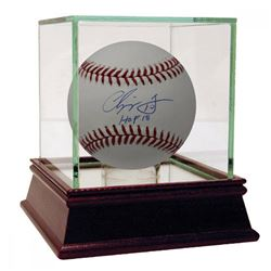 """Chipper Jones Signed Baseball Inscribed """"HOF 2018"""" with High Quality Display Case (Steiner COA)"""