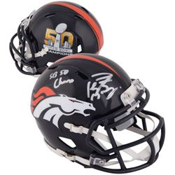 "Peyton Manning Signed Broncos Super Bowl 50 Mini-Helmet Inscribed ""SB 50 Champs"" (Fanatics Hologram)"