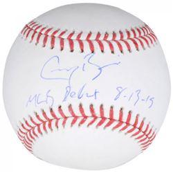 """Greg Bird Signed OML Baseball Inscribed """"MLB Debut 8-13-15"""" (Fanatics Hologram  MLB Hologram)"""