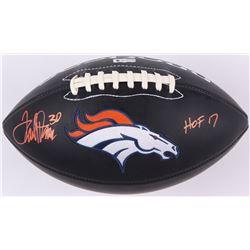 "Terrell Davis Signed Broncos Logo Football Inscribed ""HOF 17"" (Radtke COA  Davis Hologram)"