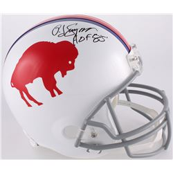 O. J. Simpson Signed Bills Throwback Full-Size Helmet Inscribed  HOF 85'  (JSA COA)