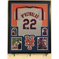Kevin McReynolds Signed  Mets 34x42 Custom Framed Jersey Display (JSA COA)