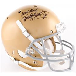 "Rudy Ruettiger Signed Notre Dame Fighting Irish Full Size Helmet Inscribed ""Never Quit"" (JSA COA)"