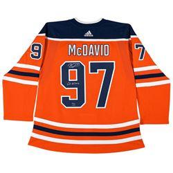 "Connor McDavid Signed LE Oilers Jersey Inscribed ""Go Oilers"" (UDA COA)"