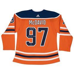 "Connor McDavid Signed LE Oilers Jersey Inscribed ""Hat Trick""  ""10/4/17"" (UDA COA)"