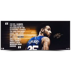 """Ben Simmons Signed 76ers """"Deliver"""" 15x36 Photo (UDA COA)"""
