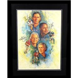 """Ken Stabler, Fran Tarkenton, Bo Jackson  Bert Jones Signed 23x29 Custom Framed Limited Edition """"Grea"""