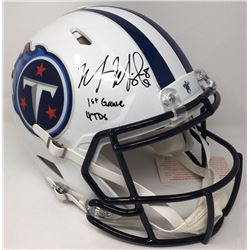 "Marcus Mariota Signed Titans LE Full-Size Authentic On-Field Speed Helmet Inscribed ""1st Game 4 TDs"""